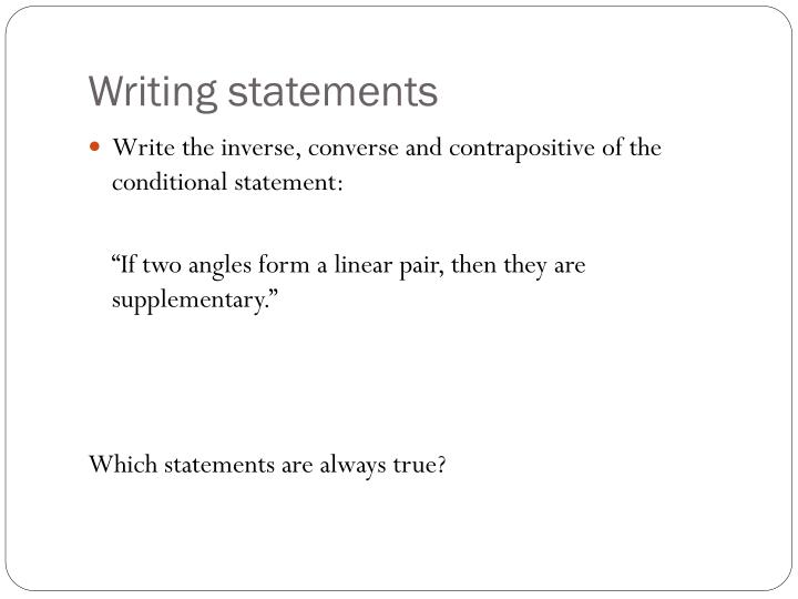 Writing statements