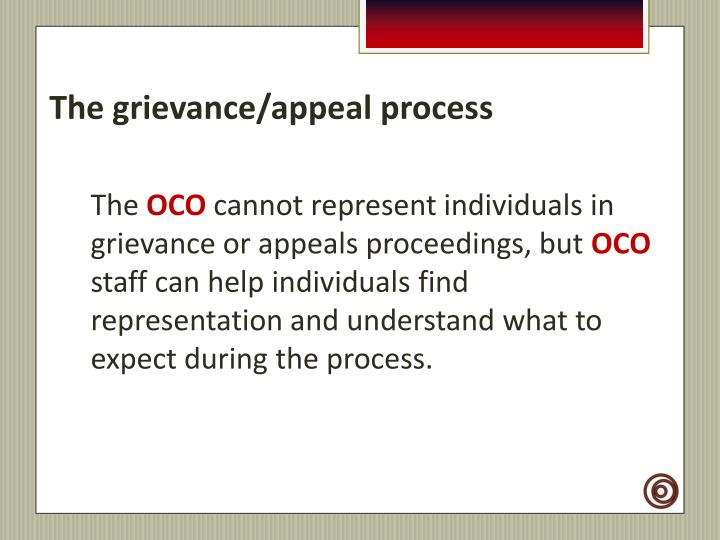 The grievance/appeal