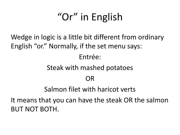"""Or"" in English"