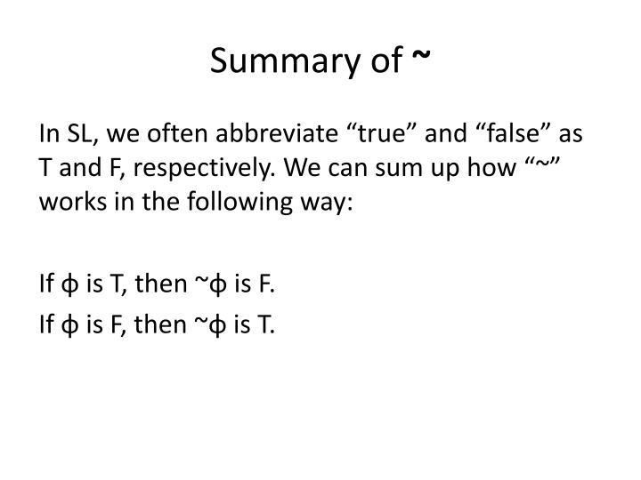 Summary of