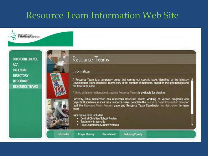 Resource Team Information Web Site