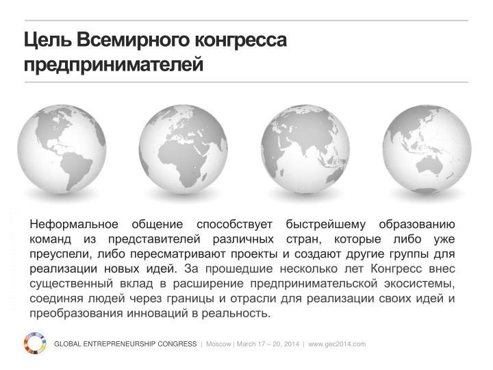 Цель Всемирного конгресса предпринимателей