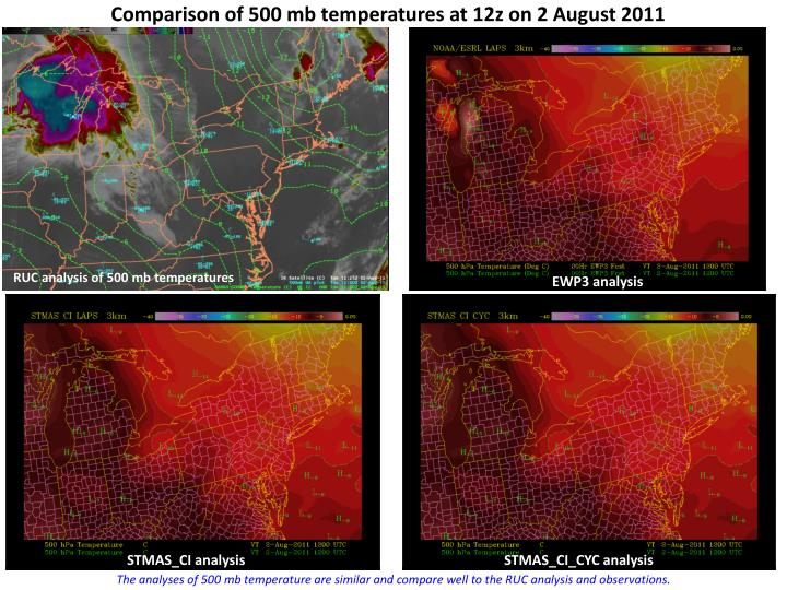 Comparison of 500 mb temperatures at 12z on 2 a ugust 2011