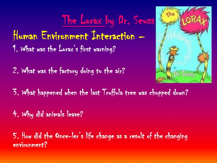 dr seuss the lorax essay The lit lorax this is a blog created by three heros learing about the noble dr seuss and his promotion of the environment.