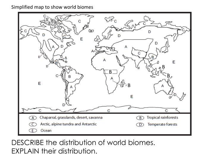Simplified map to show world biomes