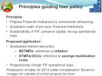 principles guiding loan policy
