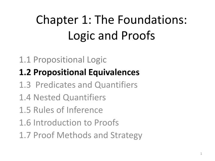Chapter 1 the foundations logic and proofs