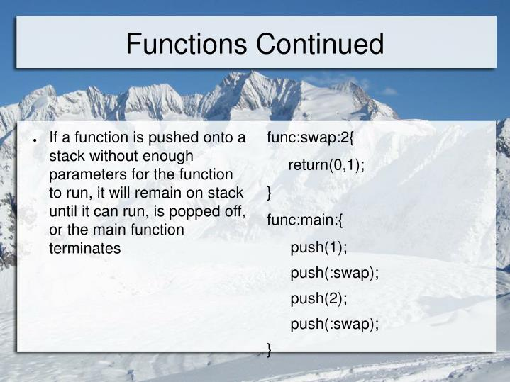 Functions Continued