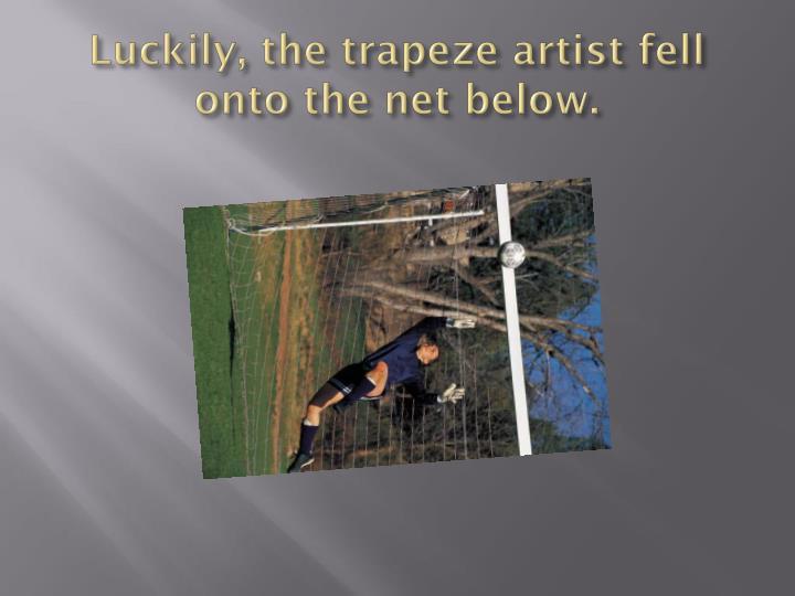 Luckily, the trapeze artist fell onto the net below.