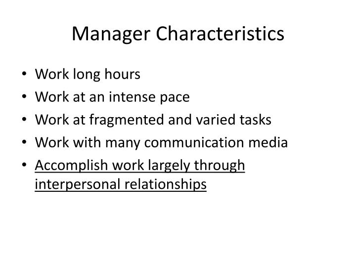 Manager Characteristics