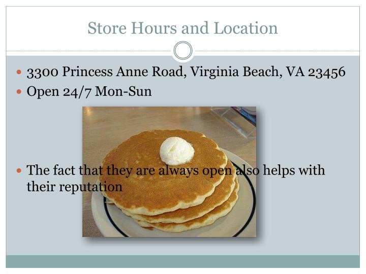 Store hours and location