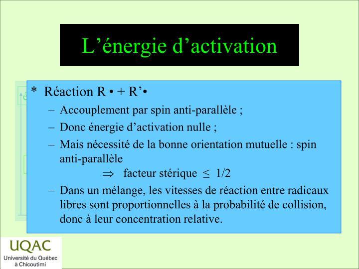 L'énergie d'activation