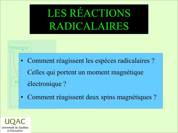 Les r actions radicalaires