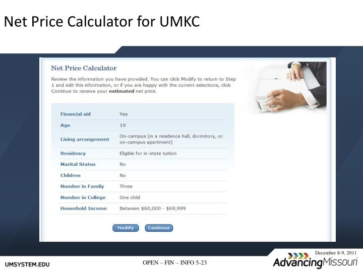 Net Price Calculator for UMKC