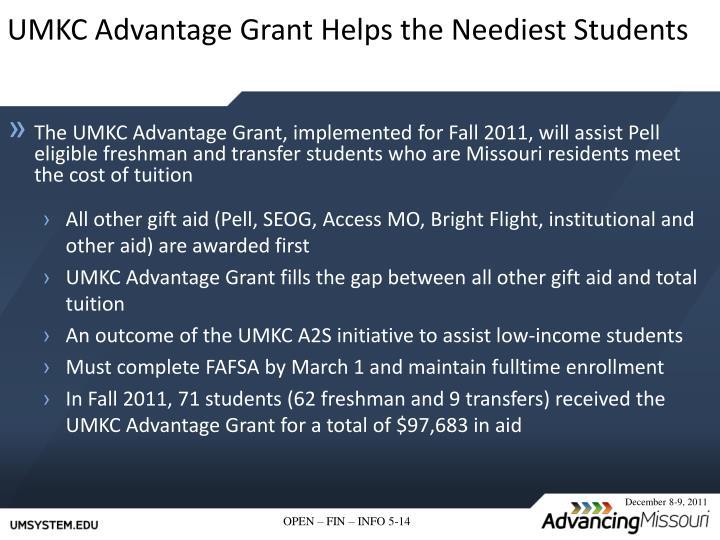 UMKC Advantage Grant Helps the Neediest Students