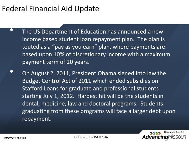 Federal Financial Aid Update