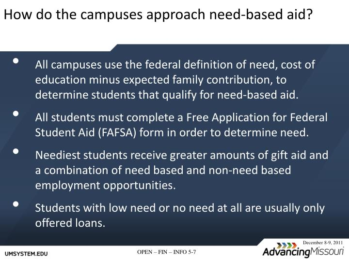 How do the campuses approach need-based aid?
