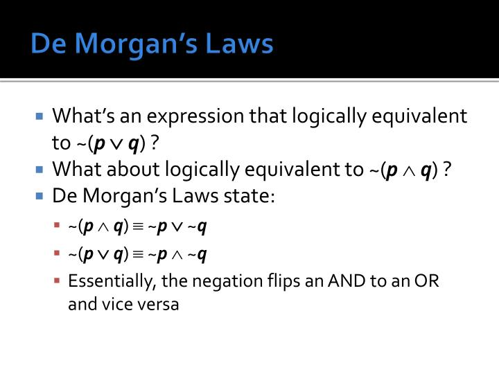 De Morgan's Laws
