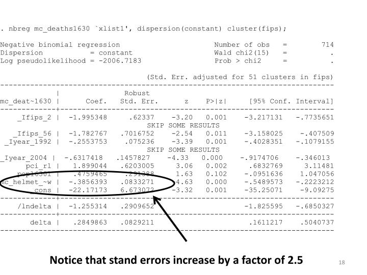 Notice that stand errors increase by a factor of 2.5