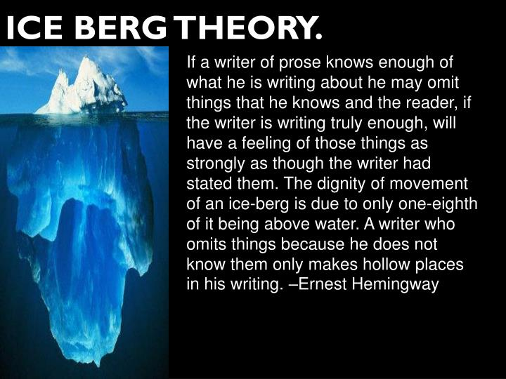 If a writer of prose knows enough of what he is writing about he may omit things that he knows and the reader, if the writer is writing truly enough, will have a feeling of those things as strongly as though the writer had stated them. The dignity of movement of an ice-berg is due to only one-eighth of it being above water. A writer who omits things because he does not know them only makes hollow places in his writing. –Ernest Hemingway