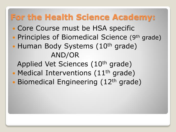 Core Course must be HSA specific