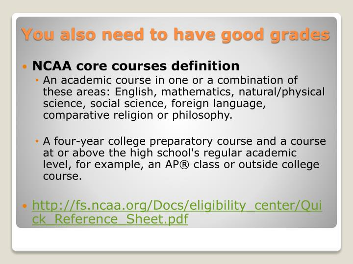 NCAA core courses definition