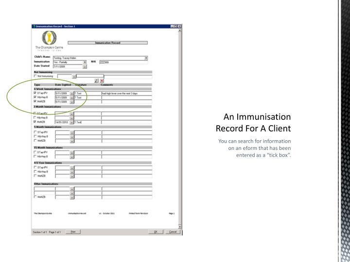 An Immunisation Record For A Client