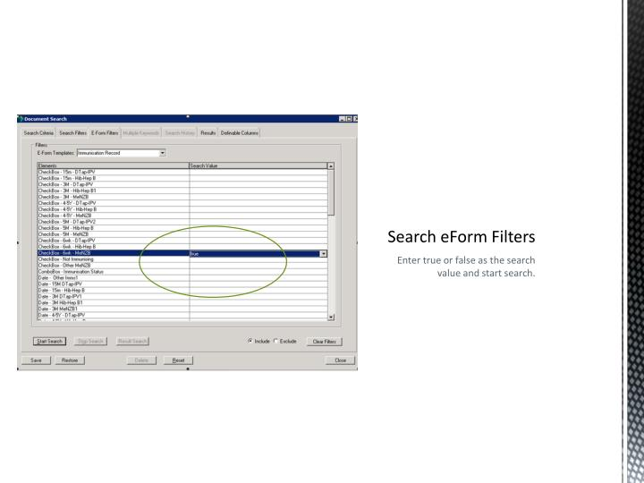 Search eForm Filters