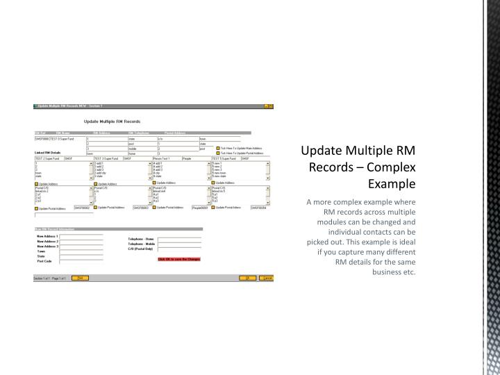 Update Multiple RM Records – Complex Example