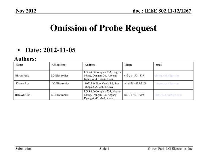 omission of probe request n.