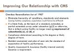 improving our relationship with cms1