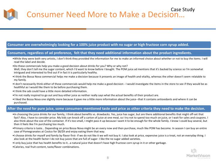 Consumer Need More to Make a Decision…
