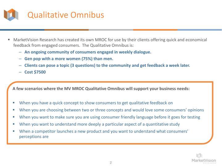 Qualitative omnibus