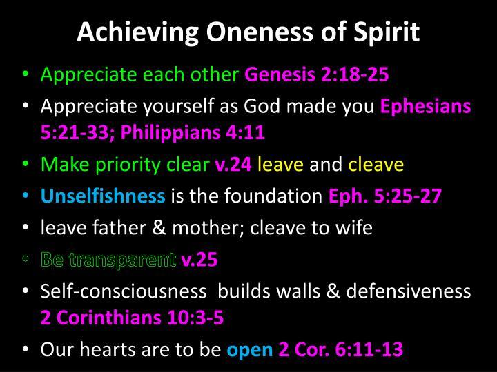 Achieving oneness of spirit