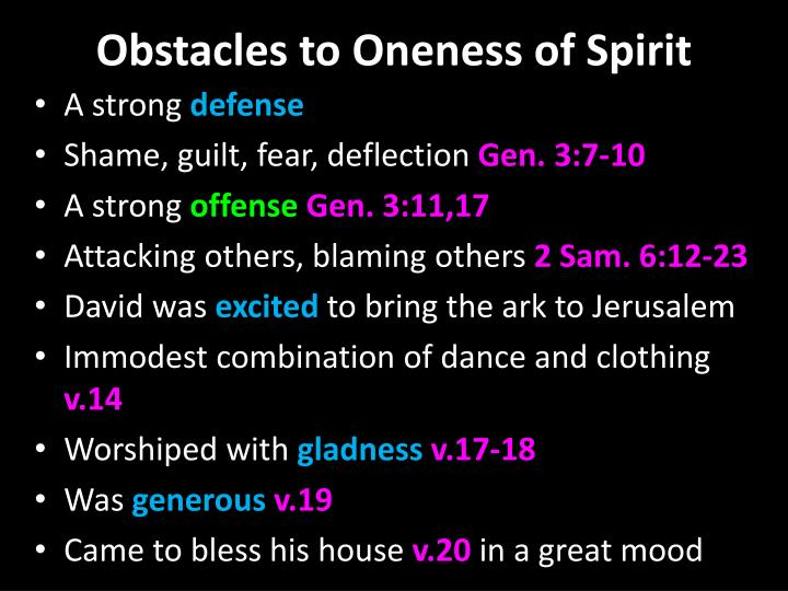 Obstacles to Oneness of Spirit