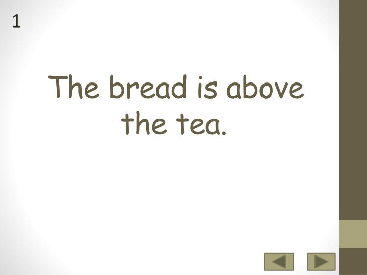 The bread is above the tea
