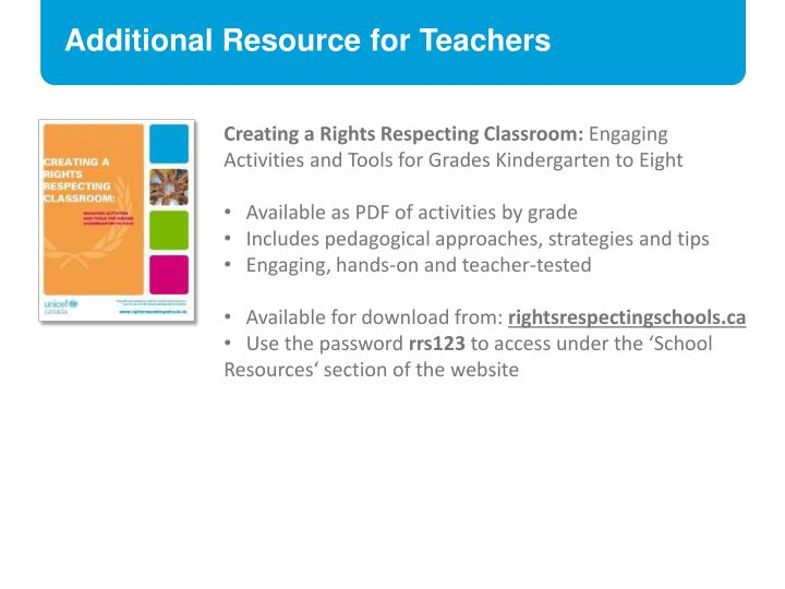 Additional Resource for Teachers