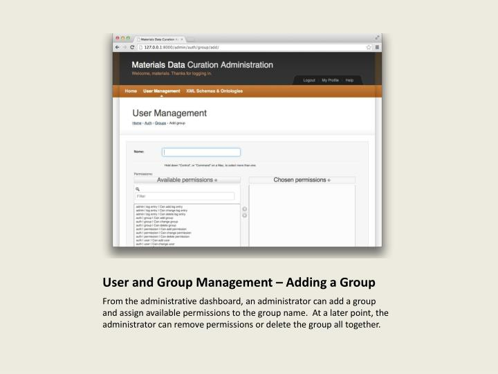User and Group Management – Adding