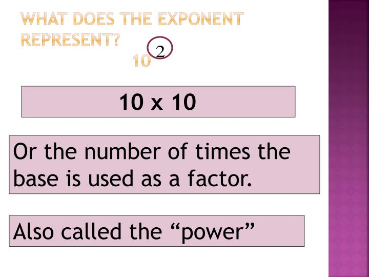 What does the exponent represent 10