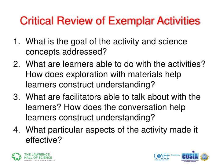 Critical Review of Exemplar Activities