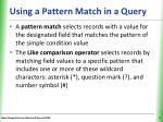 using a pattern match in a query