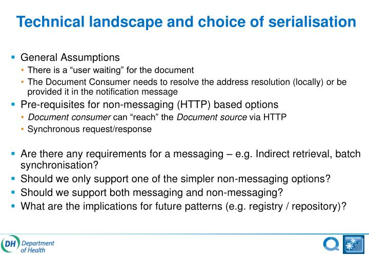 Technical landscape and choice of serialisation