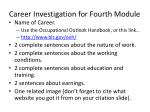 career investigation for fourth module