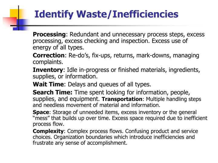 Identify Waste/Inefficiencies