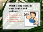 what is important to ones health and wellness