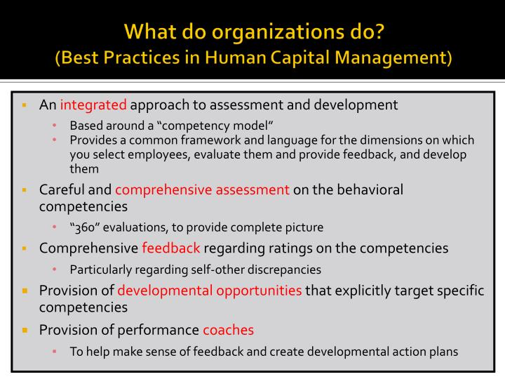 What do organizations do best practices in human capital management