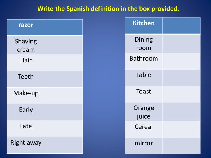 Write the Spanish definition in the box provided.