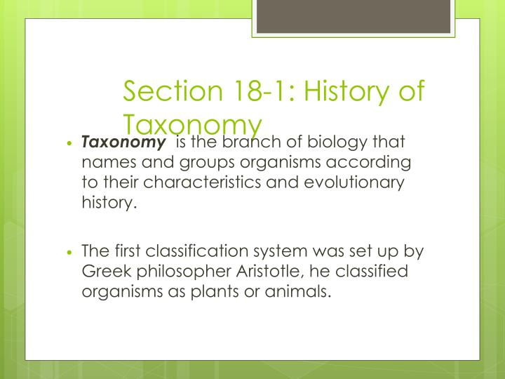 Section 18 1 history of taxonomy