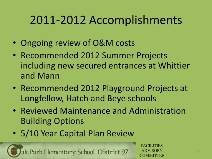2011-2012 Accomplishments
