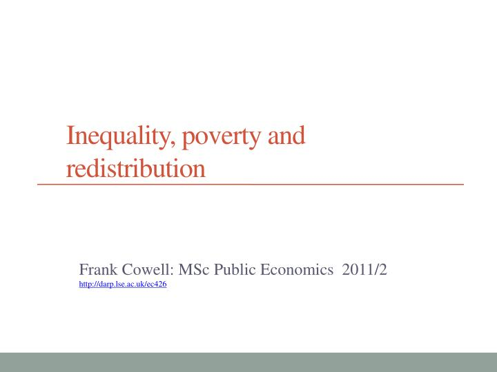 inequality poverty and redistribution n.